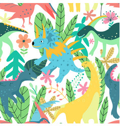 colorful dinosaurs forest seamless pattern jungle vector image
