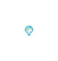 cute kid logo pin icon vector image