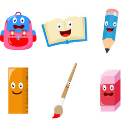Cute school supplies cartoon vector