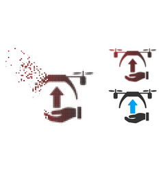 Dispersed pixel halftone drone takeoff icon vector