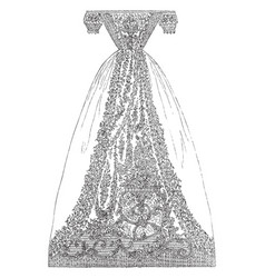 dress is made out muslin a finely woven cotton vector image
