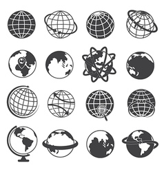 Earth Globe Icons Set on White Background vector image