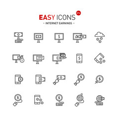 easy icons 40a internet earnings vector image
