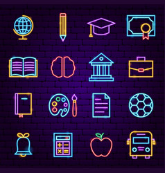 Education neon icons vector