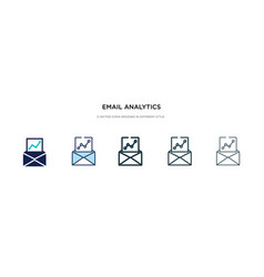 email analytics icon in different style two vector image