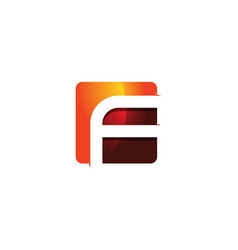 f 3d colorful square letter logo icon design vector image