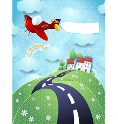 fantasy landscape with airplane and blank banner vector image