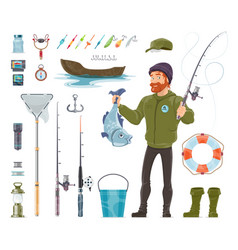 fisherman elements set vector image