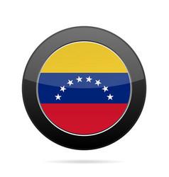 flag of venezuela shiny black round button vector image