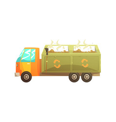 Garbage truck full of waste recycling of garbage vector