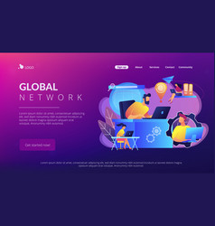 global network connection concept landing page vector image
