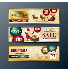 gold christmas sale banners background vector image
