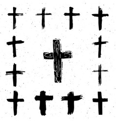 grunge hand drawn cross symbols set christian vector image