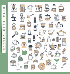 hand draw coffee icon set vector image
