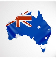 Hanging australia flag in form map vector