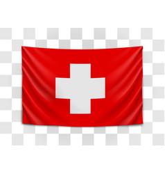 hanging flag switzerland swiss confederation vector image