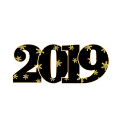 happy new year card black number 2019 gold vector image