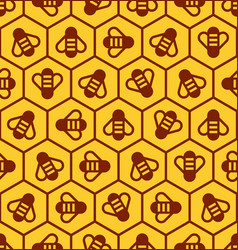 Honeycomb and honey bees seamless pattern vector