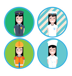 icon of girls and women of different professions vector image