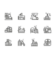 industrial plants black line icons set vector image