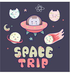 Japanese kawaii cat travels in space and a set of vector
