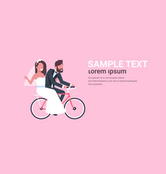 Just married man woman riding bicycle romantic vector
