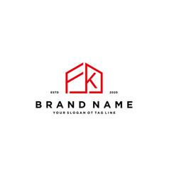 Letter fk home logo design concept vector