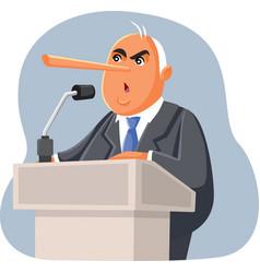 Lying politician making false promises vector