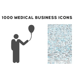 Man With Holiday Balloon Icon with 1000 Medical vector image
