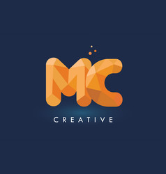 Mc letter with origami triangles logo creative vector