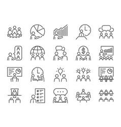 Meeting line icon set vector