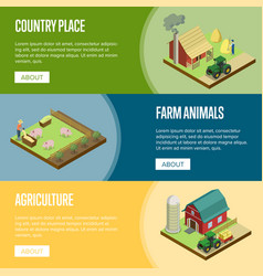 natural farming isometric horizontal flyers vector image