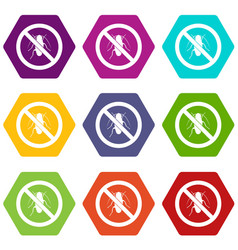 no cockroach sign icon set color hexahedron vector image