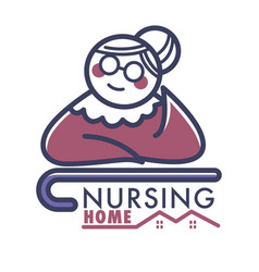nursing home logo with old retired woman and vector image