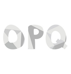 o p q grey alphabet letter set isolated on white vector image