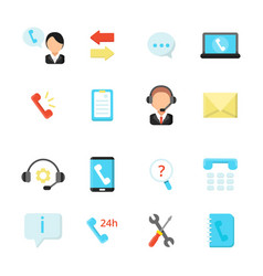 online support and call center icons vector image