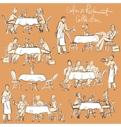 People at cafe and restaurant - Hand drawn vector image