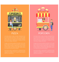Pizza and popcorn collection vector