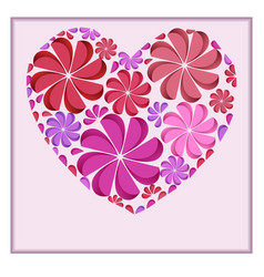Postcard with a heart of paper flowers for your vector