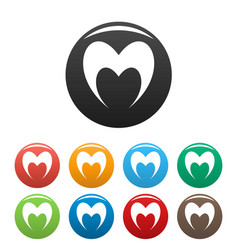 Prophetic heart icons set color vector