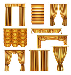 Realistic luxury gold curtains set vector