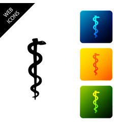 Rod asclepius snake coiled up silhouette icon vector