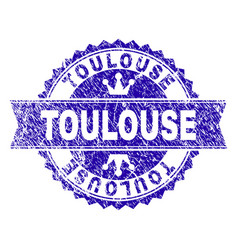 Scratched textured toulouse stamp seal with ribbon vector