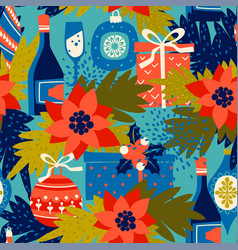 Seamless pattern with christmas symbols vector