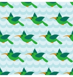Seamless pattern with colibri on striped wave blue vector image