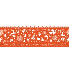 Seamless red Christmas border ornaments vector image