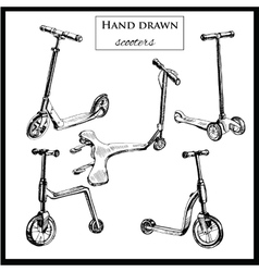 set hand drawn scooters vector image