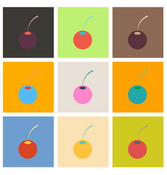 Set of cherry sweet fruit flat icon realistic vector