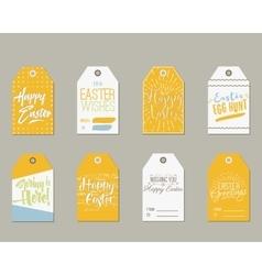 Set of Happy Easter Gift Tags with Ink Lettering vector image