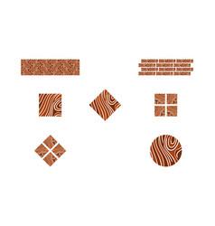 Set of logo parquet laminate flooring tiles vector